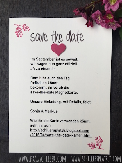 Save the date, Stampin' Up!, Hochzeit, DIY, selbermachen, handmade, Blume, Trend, Magnet, Holz, rot, rosa, Papeterie, Braut,